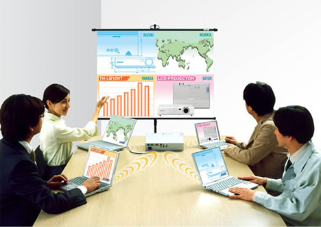 image_54611_superimage Matsushita TH-LB10NT LCD projector supports 4 PCs via Wi-Fi