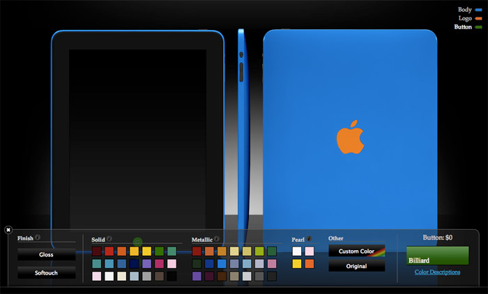 Colorware application to custom design your iPad