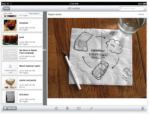 Evernote for iPad is free from the iTunes App Store