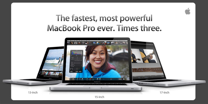 New Apple MacBook Pro line sports theIntel Corei5 and i7 CPUs