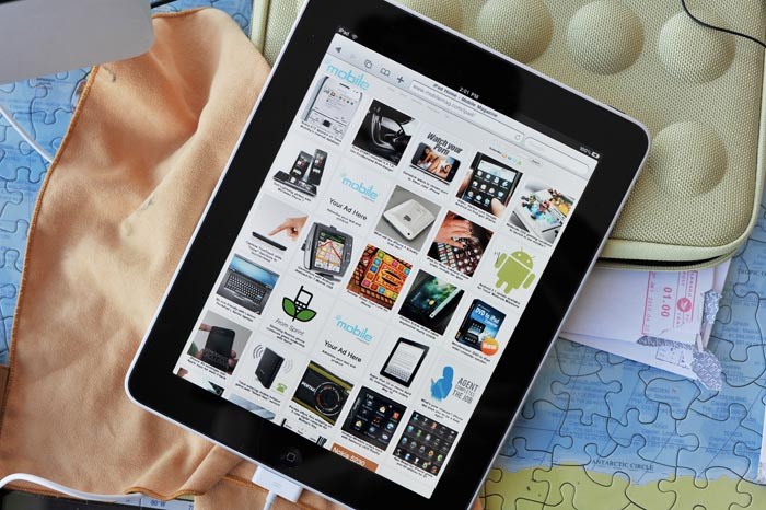 Mobile Magazine home page for the iPad