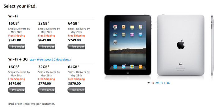 iPad prices for Rogers Wireless in Canada