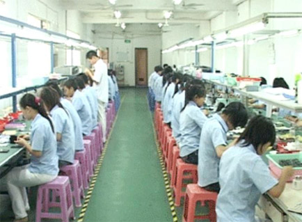 Shenzen plant workers manufacturing electronics devices