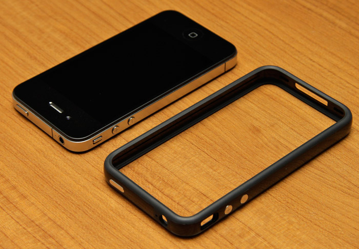 "iPhone 4 with the much needed ""bumper"" case"