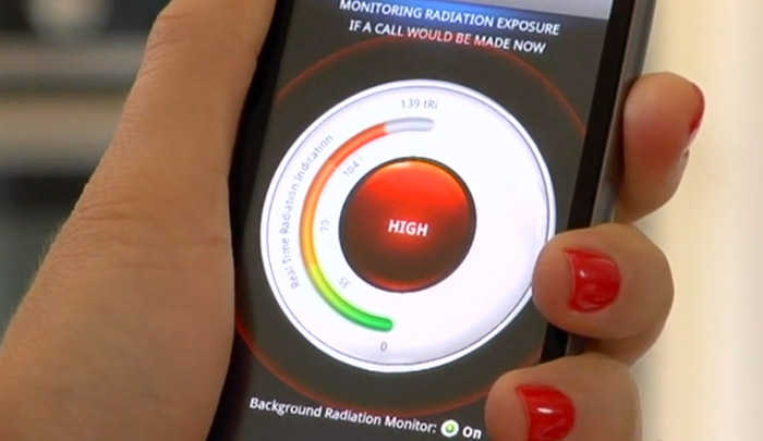 Tawkon App on the iPhone showing radiation levels