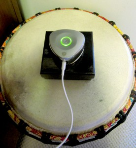 The Vibe sounds great on its box on the djembe.