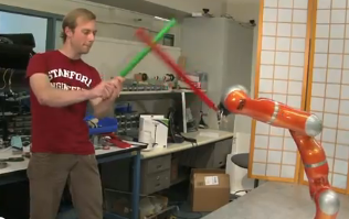 Lightsaber fighting robot